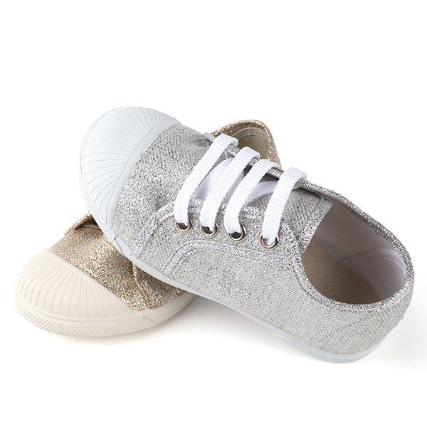 Zapatillas niñas brillo y puntera