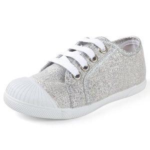zapatillas para niña con brillo plateado