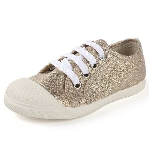 zapatillas para niña con brillo dorado