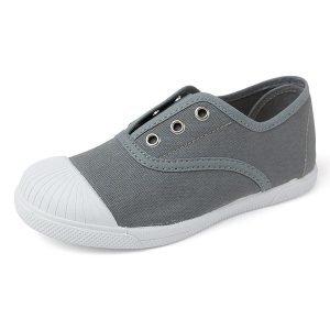 Zapatilla de lona gris con puntera y sin cordones
