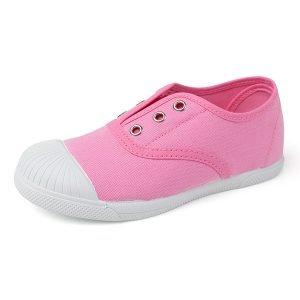 Zapatilla de lona con puntera sin cordones rosa
