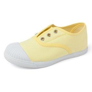 Zapatilla de lona con puntera sin cordones amarillo