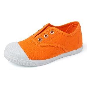 Zapatilla de lona con puntera sin cordones naranja