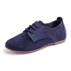 zapatos de cordones de serraje azul lateral
