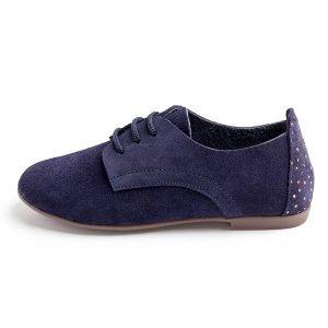 zapatos de cordones de serraje azul
