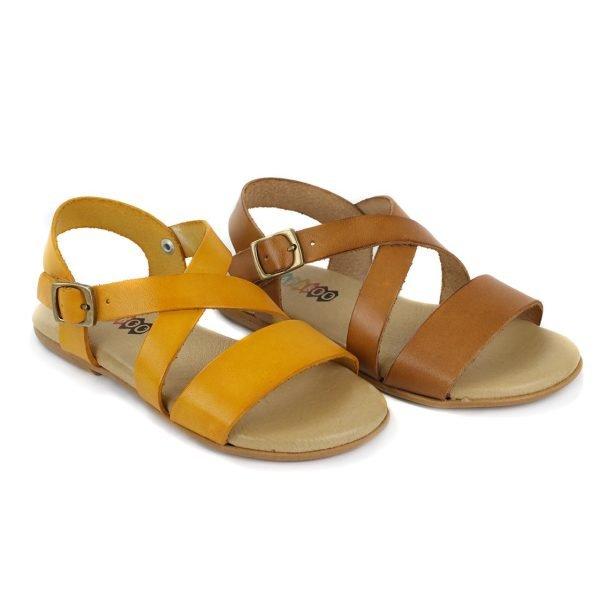 Sandalias de piel cruce