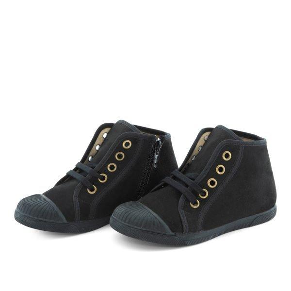 Zapatillas con puntera y cremallera negras
