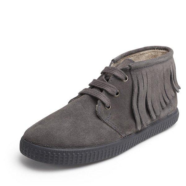 bota serraje flecos gris