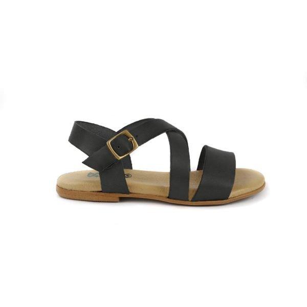 sandalia piel negro