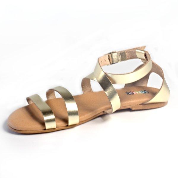 sandalias piel mujer dorados